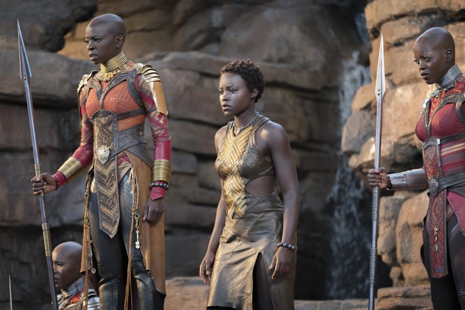 Danai Gurira as Okoye, Lupita N'yongo as Nakia, and Florence Kasumba as Ayo in Black Panther
