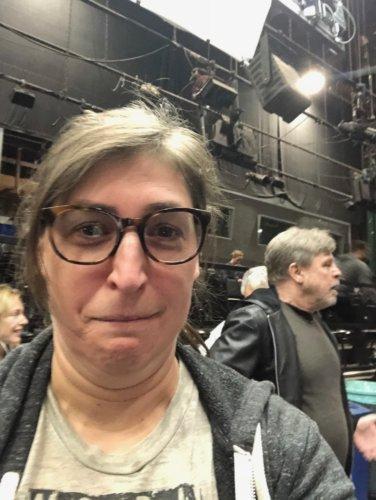 Mayim with Mark Hamill on 'The Big Bang Theory' set