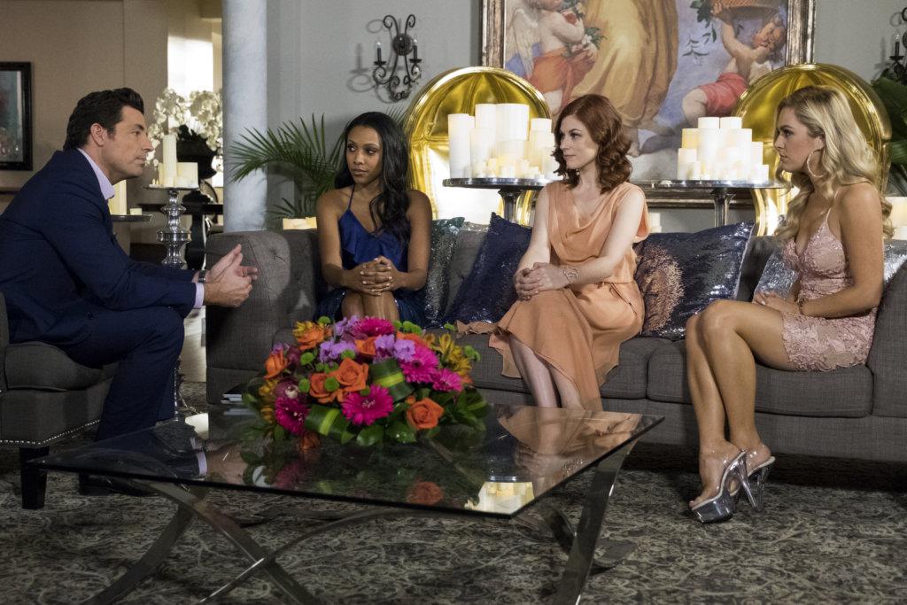 Graham (Brennan Elliot) with Noelle (Meagan Holder), Sofia (Meghan Heffern), and Candy Coco (Natalie Hall) in 'UnREAL' season 4.