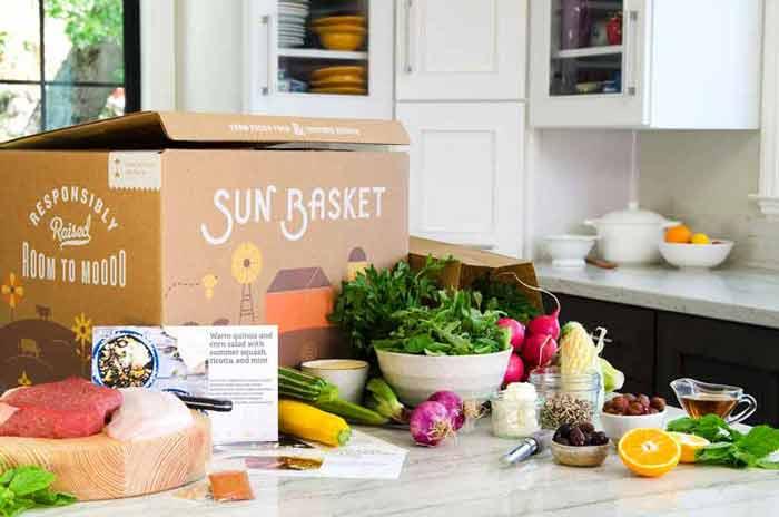 Sun Basket box and ingredients